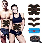 LuckLife Electric Muscle Stimulator, Muscle Toner EMS Portable Rechargeable Gym Workout Training and Home Office Fitness...