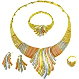 Gold Jewelry Set Dubai African Jewelry Sets for Women 24 K Hollow Golden Luxury Necklace Earrings Bracelet Ring Set for Lady