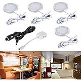 4st interiör LED taklampor med splitteradapter + billaddare för DC 12V RV husbil husvagn båt kök vardagsrum