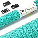 Ganzoo Paracord 550 touw + 3x kliksluiting voor armband, lijn, halsband, starterset