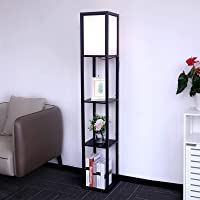 Aimosen Lampadaire en Bois , 1,6M avec 3 étagères Tablettes de Rangement,Lampe sur Pied pour Salon, Chambre à Coucher…