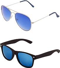 ADDON EYE WEAR Metal and Composite Combo of non Polarized Aviator-Wayfarer Sunglasses for Men (Blue Lens, 50)