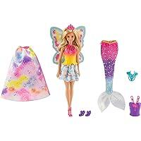 Barbie Dreamtopia poupée Arc-en-ciel coffret 3 en 1 blonde avec trois tenues multicolores de princesse, sirène et fée…