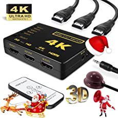 Upgraded HDMI Switch 4k with IR Remote Intelligent Mini HDMI Selector Switcher Box 5 Port, Supports 4K, Full HD1080p 3D - 2 - Year Warranty with Rts (Radhey Techno Services)