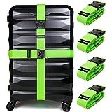 أحزمة أمتعة غير مقيدة 4 عبوات | أحزمة للحفاظ على حقيبتك آمنة أثناء السفر، إكسسوار ممتاز لغلق حقيبة السفر.