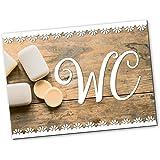 Logbuch-Verlag WC-bord wc-bord deurbordje houtlook vintage bruin wit rechthoekig 14,8 x 10,5 cm incl. zelfklevende punten neu
