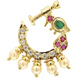 UG PRODUCTS Peacock Design Non-Piercing Screw Press Nose Pin For Women And Girls (CZ1897)