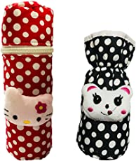 First Trend Baby Feeding Bottle Cover with Soft & Attractive Fancy Cartoon Set of 2 Colors & Designs : Pouch and Zipper