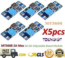 TECNOIOT 5pcs MT3608 2A MAX DC-DC Step up Power Module Booster Power Module for Arduino |5 Stück MT3608 DC - DC Step up Power Modul Booster 2 A Power Modul für Arduino anwenden