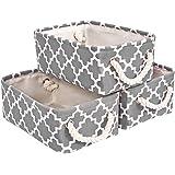 Hengshitong Panier de Rangement en Toile Imprimée Lot de 3, Boîtes de Rangement Pliables avec Poignées à Corde de Coton, Orga