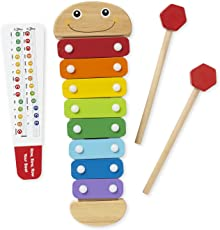 Melissa and Doug Caterpillar Xylophone Musical Toy with Wooden Mallets, multicolor
