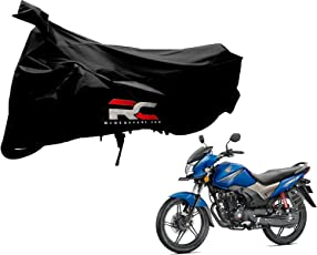 Riderscart Bike for Honda CB Shine Bicycle, Anti-UV Protection with Anti Theft Lock Holes and Buckles, Includes Bag Black Color