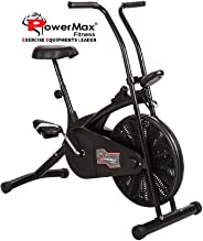Powermax Fitness BU-203 Air Bike with Fixed Handles - Exercise Cycle for Weight Loss, Cardio Workout at home - Compact Design