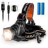 LED Stirnlampe, Beinhome Kopflampe USB Wiederaufladbarer Wasserdicht Scheinwerfer mit 2000 Lumens 90°Verstellbar 3 Helligkeiten für Laufen, Joggen, Camping, Wandern, Inkl. 2*18650 Batterie (MEHRWEG)
