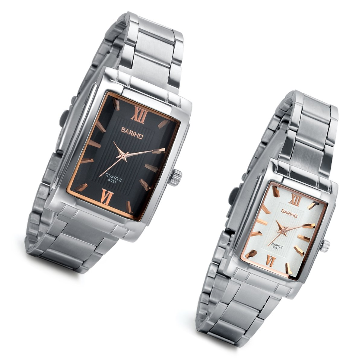 Lancardo 2pcs Partner Casual Herren Damen Armbanduhr, Analog Qaurzuhr Liebespaar Paaruhren Set mit schwarz Zifferblatt, Edelstahl Armband, silber schwarz weiss