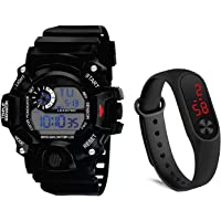 BID LED Digital Sports Black Dial Silicone Boys Kids Watch Combo Pack of 2