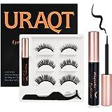 URAQT Falska ögonfransar, Magnetögonfransar med Magnetiskt Eyeliner Set, 3 Par återanvändbara 3D Konstgjorda ögonfransar, Nat