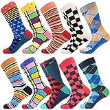 BISOUSOX Chaussettes pour Hommes,Chaussettes Fantaisie avec de Jolis Motifses,Socquettes Colorées Chaussettes Classiques Conf