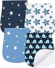 Spucktücher für Baby Jungen Mädchen 4 Pcs Baumwolle Lätzchen Abwaschbar für Mamas Schulter von YOOFOSS