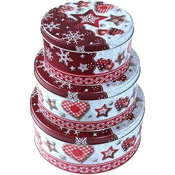 Blechdose Keksbox Keksdose f/ür Weihnachten matrasa 3er Set Pl/ätzchendose ZIMTSTERN