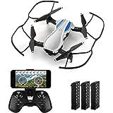 HELIFAR H1 Drohne mit Kamera 720p HD Kamera FPV Drohne Faltbar 2.4Ghz 6CH Ferngesteuerte Mini Drohne mit Handy Steuerung Lange Flugzeit rtf RC Quadrocopter Drohne (Silber 3 Batterien)
