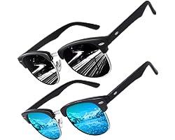 CGID MJ56 Occhiali da Sole Classico Polarizzati Mezza Montatura Occhiali con Rivetti in Metallo per Uomo e Donna