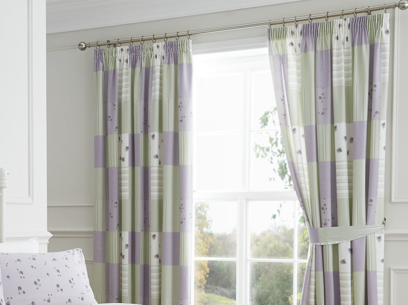 Dreams U0027nu0027 Drapes 66 X 72 Inch Lined Patchwork Curtain, Lilac:  Amazon.co.uk: Kitchen U0026 Home