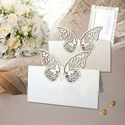 48 pack laser cut butterfly vine wedding table number name place 48 pack laser cut butterfly vine wedding table number name place card wedding party decoration favour amazon kitchen home junglespirit Images