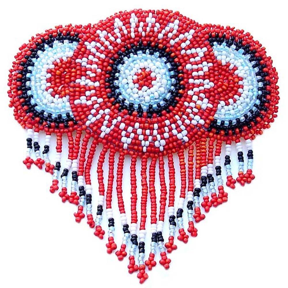 viva rilievo barrette francese clip rosso rosetta Fringe Beadwork accessori per capelli Z40/19