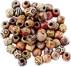 Magideal Mixed Round Wooden Beads for Jewelry Making Loose Spacer Charms, 12mm - Pack of 100