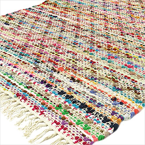 EYES OF INDIA - 3 X 5 ft MULTICOLOR COLORFUL CHINDI WOVEN RAG RUG Bohemian Boho Indian Decor (Rag Rug)