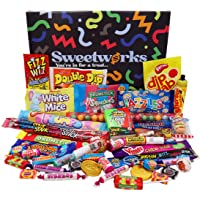 Retro Sweets MEGA Sweetworks Gift Box – Packed with Kid's & Adult's Favourite Sweets, Old School Retro Favourites Hamper…
