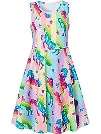 d98e8ed4bf6b55 Fanient Mädchen Kleider Sommer ärmelloses Kleid Rundhals Tier Gedruckt  Freizeit Party Trägerkleid Funky Kleider für.