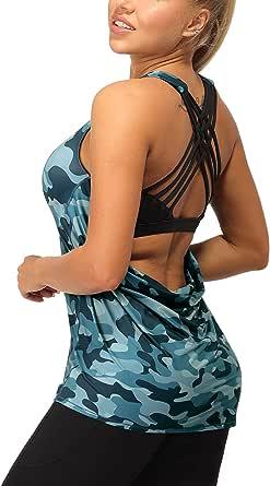 icyzone Femme Débardeur de Sport 2 en 1 - Débardeur sans Manches avec Soutien-Gorge intégré, Fitness Yoga Tank Top
