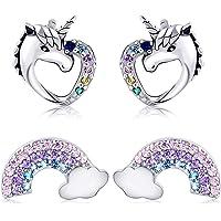 Tacobear 2 Paar Einhorn Ohrringe Silber S925 Ohrringe Mädchen Damen Ohrstecker Einhorn Liebe Herz Regenbogen Ohrringe…