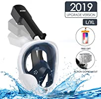 AGM Máscara de Buceo, Máscara Snorkel 180° Tecnología Panoránica, Máscara de Esnórquel Cara Completa, Cámara Instalable...
