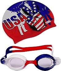 Viva Sports USA-Swim-Set-2 Silicone Swimming Cap and Goggles