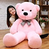 NP Toys Girl's and Boy's Polyester Soft 2.5 Feet Lovable Huggable Teddy Bear with Neck Bow (Pink, 2.5 Feet)