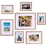 مجموعة إطار الصور الخشبي ATOBART من 7، مجموعة إطارات متعددة للصور الفوتوغرافية متعددة الأحجام، أدوات التركيب متضمنة للعرض على