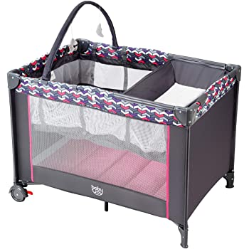 Red Kite Sleeptight Pretty Kitty Travel Cot /& Mattress with Carry Case