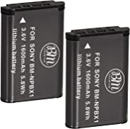BM Premium 2 Pack of NP-BX1 NP-BX1/M8 Batteries for Sony CyberShot DSC-RX100, RX100 II, RX100 III, RX100 IV, RX100 V, DSC-RX1