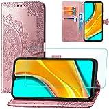 Yohii Cover Xiaomi Redmi 9 + Pellicola Protettiva in Vetro Temperato, Flip Caso in Portafoglio Slot Schede Chiusura…