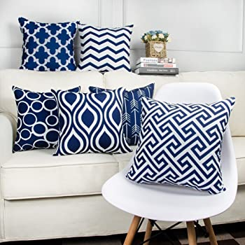 Style Crome Navy Blue Designer Decorative Cushion Covers (Set Of 6 ) - 16 X 16 Inch / 40 X 40 Cm