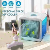 Climatiseur Portable - Ventilateur USB Muitifonction 3 EN 1Mini Climatiseur Humidificateur Purificateur 7 LED Couleurs pour Maison /Bureau /Camping (Blanc)
