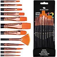 Pinceaux Peinture Acrylique - 12 Pièces Sets de pinceaux en Nylon pour Brosses à l'huile, Gouache, Aquarelle, Acrylique