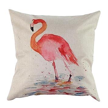 Vintage Home Decor Cotton Linen Flamingo Print Pillow Case Sofa ...