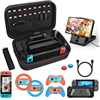HEYSTOP Kit Accessori 12 in 1 Compatibile con Nintendo Switch Include Custodia da Trasporto Cover Protettiva in TPU Grip…