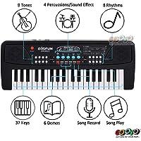 Gooyo Bigfun Kids Toys Electronic Musical Instruments 37 Keys Toy Music Piano Keyboard with Microphone - Black for Boys Kids Girls