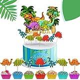 iZoeL 72 Dinosauro Torta Toppers, 1 Happy Birthday Banner, Festa Di Compleanno Decorazione Torta Per Ragazzi