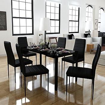 Festnight Set Tavolo da Pranzo/Tavolo cucina con sedie 7 Pezzi Nero ...